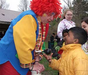 Kids enjoy fun interaction with Rosie the Clown