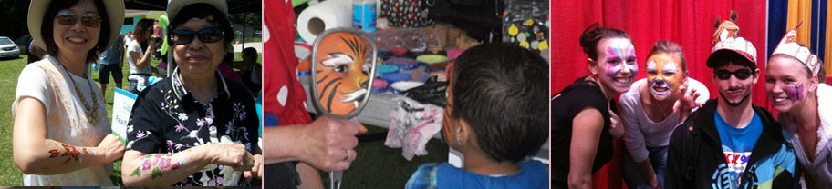 Photos of face-painting for all ages