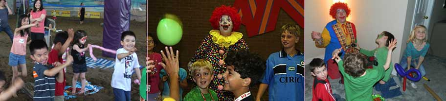 Kids having fun with Rosie the Clown at parties