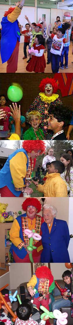 Photos of Rosie the Clown entertaining kids with magic, balloons, games and action songs.