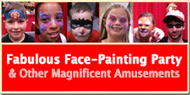 Face-painting as done by Rosie the Clown and her amazing team of artists.
